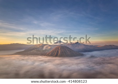 Bromo mountain sunrise from top view - stock photo