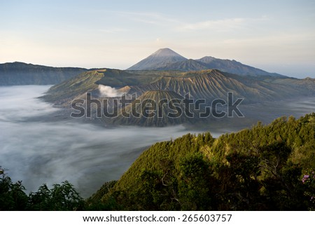 Bromo-Tengger-Semeru-National Park, East Java, Indonesia - stock photo