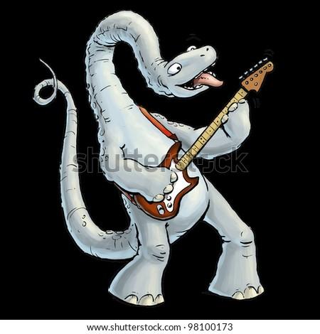 Brontosaurus playing a Guitar - stock photo