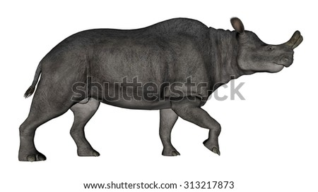 Brontotherium or megacerops dinosaur walking isolated in white background - 3D render - stock photo