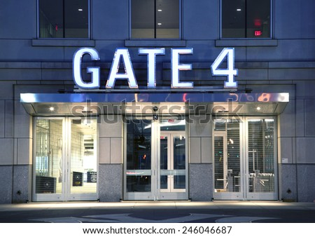 BRONX, NEW YORK - JUNE 20: Gate entrance to Yankee Stadium at twilight.   Taken June 20, 2014 in the County of the Bronx, NY. - stock photo