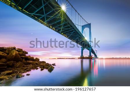 Bronx Whitestone bridge at dusk - stock photo