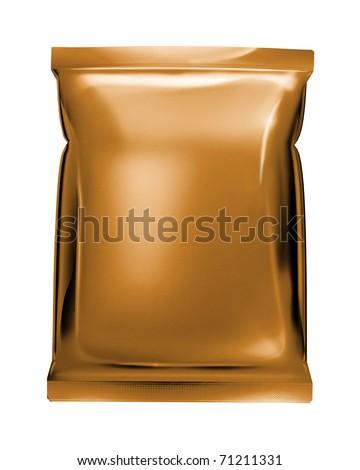 bronze aluminum foil pack isolated on white background - stock photo