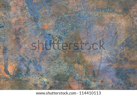 Bronze and copper mixed plate surface. Visible oxidation. - stock photo