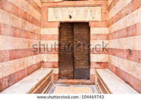 Bronze antique drawer door handle on mosque in Jerusalem , Israel - stock photo