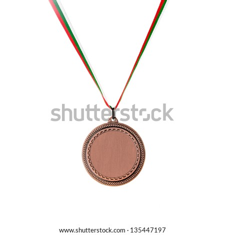 Bronze blank medal isolated on white - stock photo
