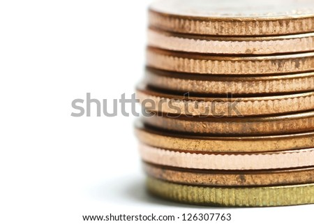 bronze coins stacked - stock photo