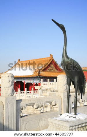 Bronze crane statue in the Forbidden City of China, stands for lucky, honor, power and auspicious. - stock photo