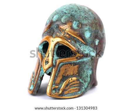 Bronze helmet isolated on white - stock photo