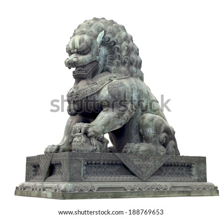 Bronze lion isolated on white with clipping path, Chinese Sculpture.  - stock photo