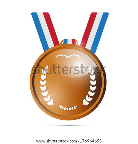 Bronze Medal, Award Isolated on White Background  - stock photo