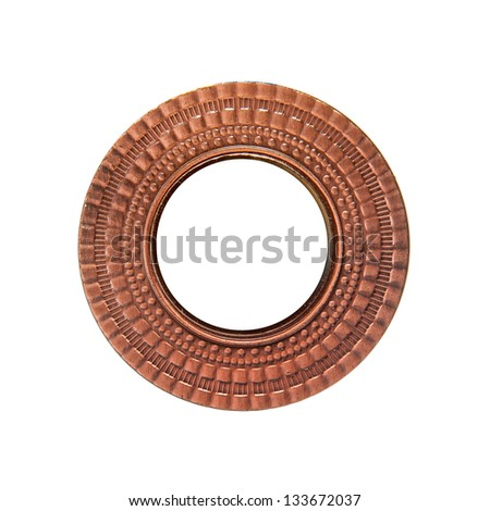 Bronze medal isolated with circle copy space inside - stock photo