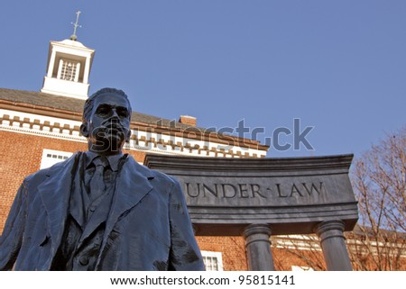 Bronze memorial statue of Thurgood Marshall, the first African American appointed to the U.S. Supreme Court in 1967 in Lawyers' Mall across from the Maryland State House in Annapolis, MD. - stock photo