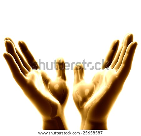 Bronze metal hands on open arm position hoping for blessings - stock photo