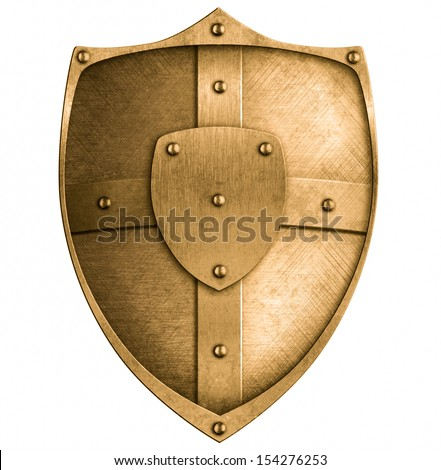 bronze metal shield isolated on white - stock photo