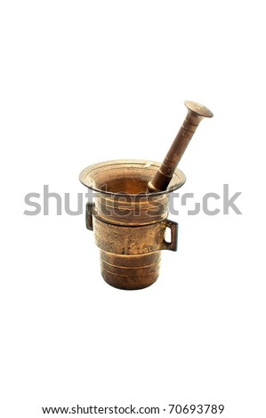 Bronze mortar and pestle isolated on white background - stock photo