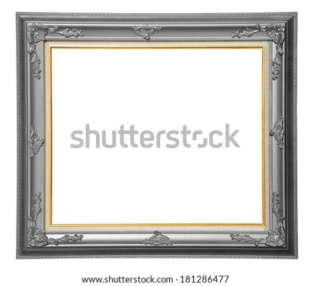 Bronze photo wooden frame over white background, clipping path. - stock photo