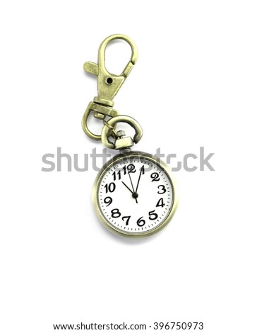 bronze retro pocket watch with holder on white background and clipping path - stock photo