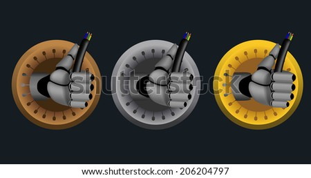 Bronze, silver, gold, raster rating icons on black background with cyborg hand holding cable - stock photo