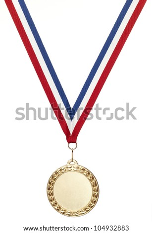 bronze sports medal with clipping path isolated on white with copy space - stock photo
