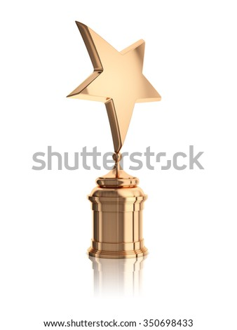 bronze star award on stand isolated on a white background - stock photo