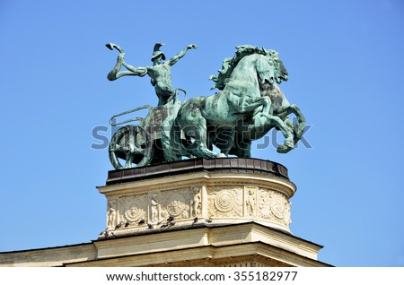 Bronze statue in the Heroes Square in Budapest - stock photo