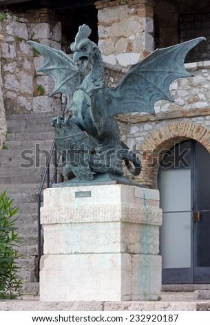Bronze Statue of a Mythological Creature at Trsat Castle in Rijeka, Croatia - stock photo