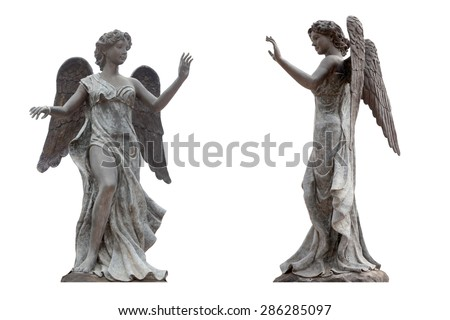 Bronze statue of an angel with wings isolated on a white background the front view. This has clipping path. - stock photo