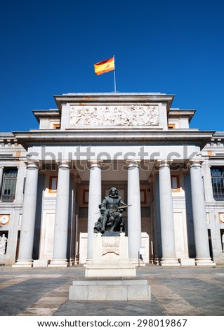 Bronze statue of Diego Velazquez is beside the Museo del Prado in Madrid, Spain. Madrid is a popular tourist destination of Europe. - stock photo