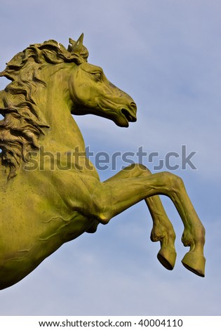 bronze statue of horse - stock photo