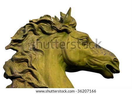 bronze statue of horse isolated on white - stock photo