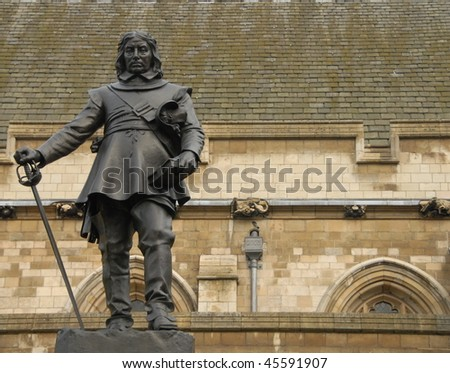 Bronze statue of Oliver Cromwell - stock photo