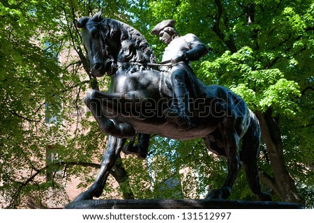 Bronze Statue of Paul Revere at Freedom Trail in front of the Old North Church, North End, James Rego Square, Hanover Street, Boston, MA - stock photo