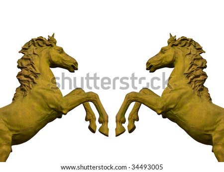 bronze statue of two horses isolated on white - stock photo
