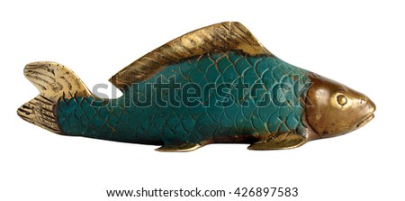 Bronze statuette of a Koi Carp isolated on white background                                - stock photo