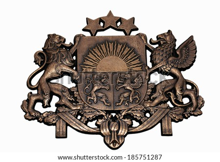Bronze symbol of the State of Latvia on a white background - stock photo