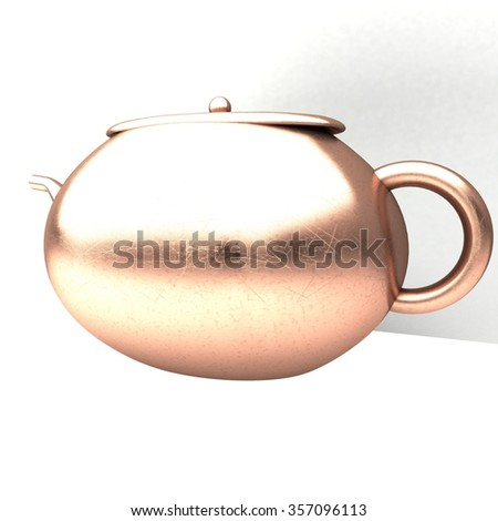 Bronze teapot over white, square image, 3d render - stock photo