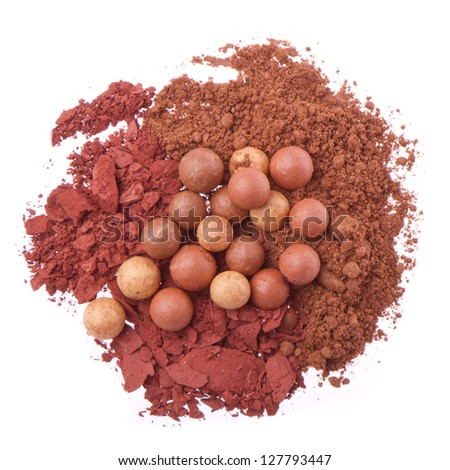bronzing pearls with crushed eyeshadows isolated on white background - stock photo
