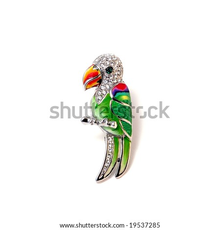 Brooch Parrot - stock photo