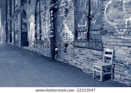 Brooklyn and a wall of graffiti, New York City - stock photo