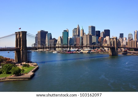Brooklyn Bridge and lower Manhattan, New York - stock photo
