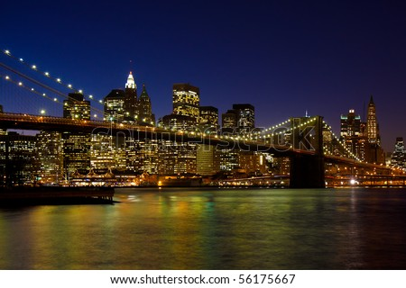 Brooklyn Bridge and Manhattan skyline, New York City - stock photo