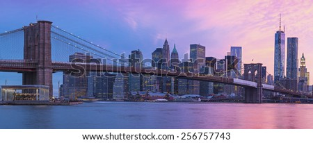 Brooklyn bridge and    New York City Manhattan panorama at sunset - stock photo