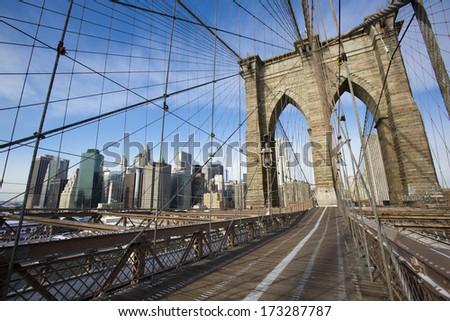 Brooklyn Bridge in New York - stock photo