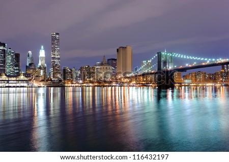 Brooklyn bridge in New York at night - stock photo