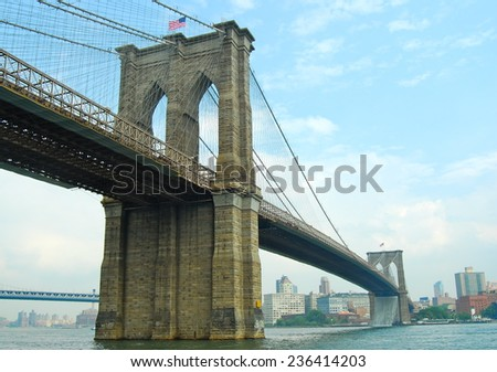 Brooklyn Bridge in New York City on June 26, 2008, USA. - stock photo