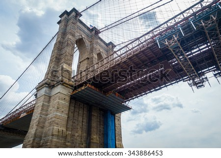 Brooklyn bridge in New York City, USA - stock photo