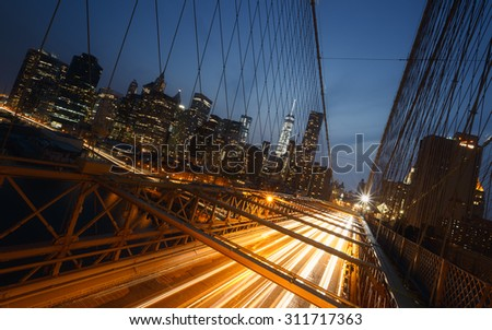 Brooklyn Bridge in New York, USA - stock photo