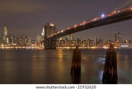 Brooklyn Bridge & Manhattan Skyline, New York City - stock photo