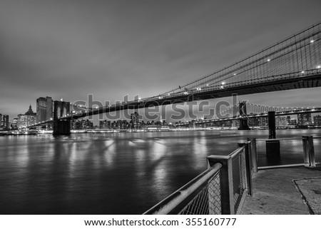 Brooklyn bridge, New York City  - stock photo